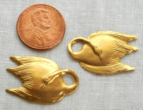 "Two raw brass swan, swans, pendants, charms, brass stampings, 1"" in by .625"" in. made in the USA6301 - Glorious Glass Beads"
