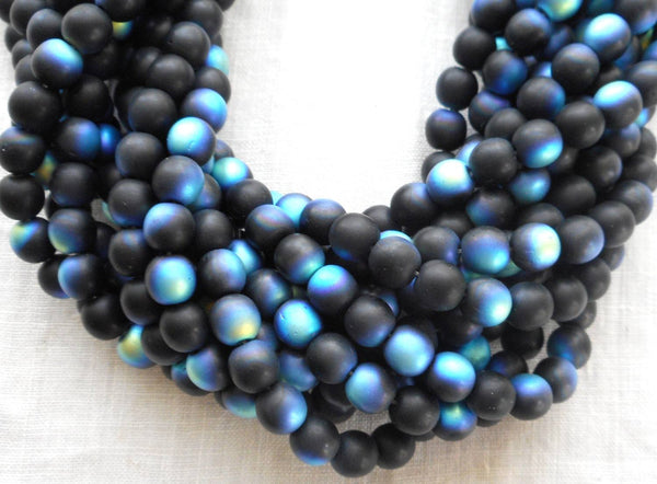 Fifty 6mm Jet Black Matte AB Czech glass druk beads, C2750 - Glorious Glass Beads