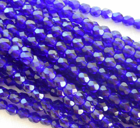 Lot of 25 6mm Czech glass, cobalt blue firepolished faceted round beads, C3425