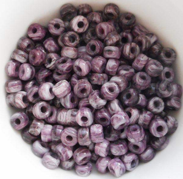 50 6mm Czech Opaque Amethyst Purple & White Marbled glass pony beads, large hole crow beads, C6550 - Glorious Glass Beads