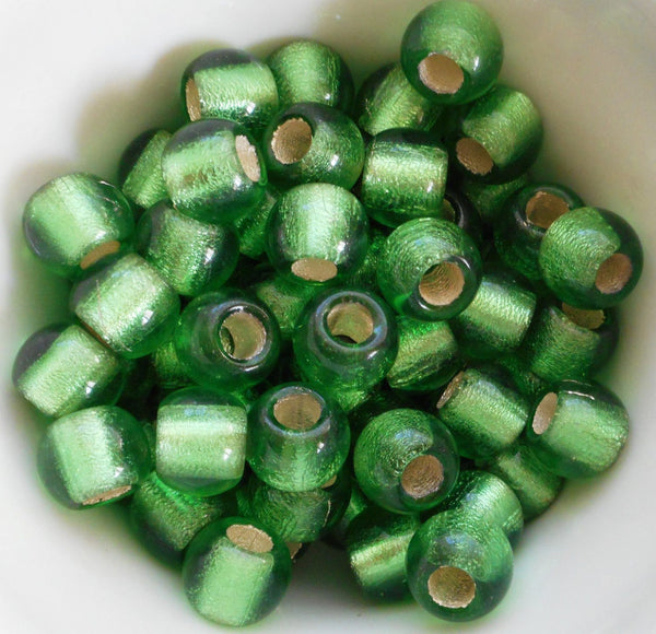 Six mint, Lime Green glass 12mm round beads, big 4.5mm holes, C8701