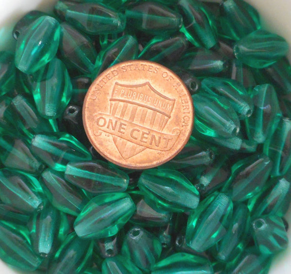 Lot of 25 11mm x 7mm Teal Czech glass lantern or tube beads, C9125