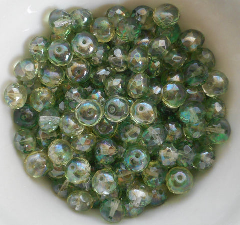 Lot of 25 6 x 9mm Czech Lumi Mint Green faceted puffy rondelle beads,  C91125 - Glorious Glass Beads