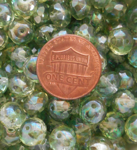 Lot of 25 6 x 9mm Czech Lumi Mint Green faceted puffy rondelle beads,  C91125