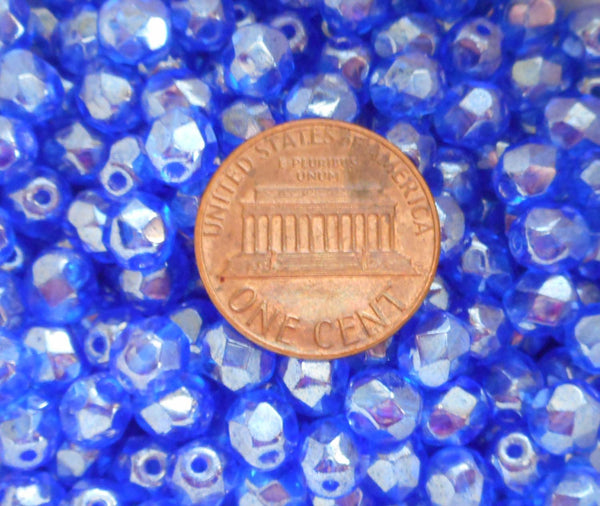 Lot of 25 6mm Sapphire Blue Iridescent Shimmer Czech glass firepolished, faceted beads, C7225