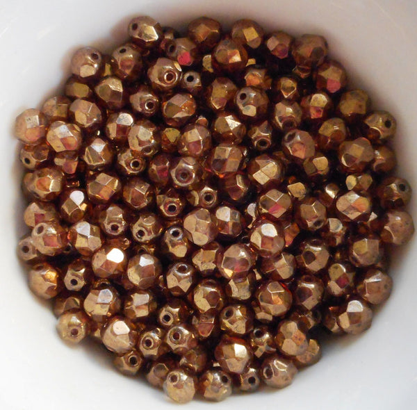 Lot of 25 6mm Czech glass, Lumi Brown firepolished, faceted round beads, C9425