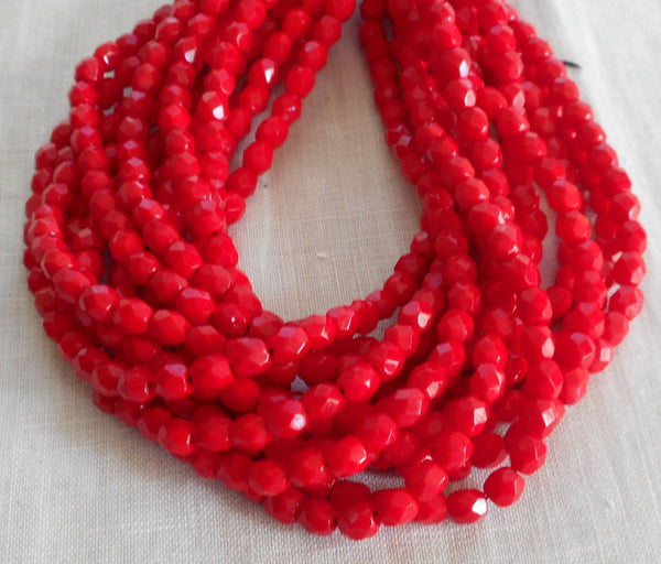 Fifty 4mm Czech Opaque Bright Blood Red  faceted, round, firepolished glass beads C4950 - Glorious Glass Beads