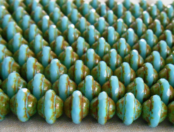 Lot of 21 9x7mm Opaque Robin's Egg, Picasso Saturn faceted Czech glass Beads, C00221 - Glorious Glass Beads