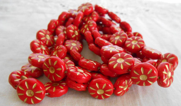 Five Czech pressed glass opaque Red & Gold, daisy beads, 12mm C5705 - Glorious Glass Beads