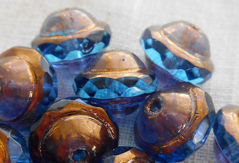 Six transparent capri blue Czech glass faceted saturn or saucer bead with a bronze finish, 8mm x 10mm, C4801