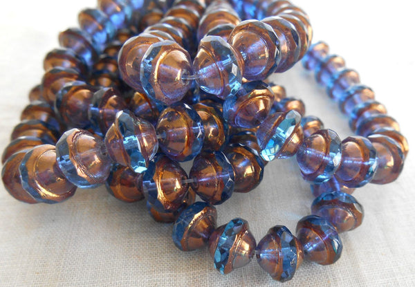 Ten transparent capri blue Czech glass faceted saturn or saucer bead with a bronze finish, 8mm x 10mm, C4801