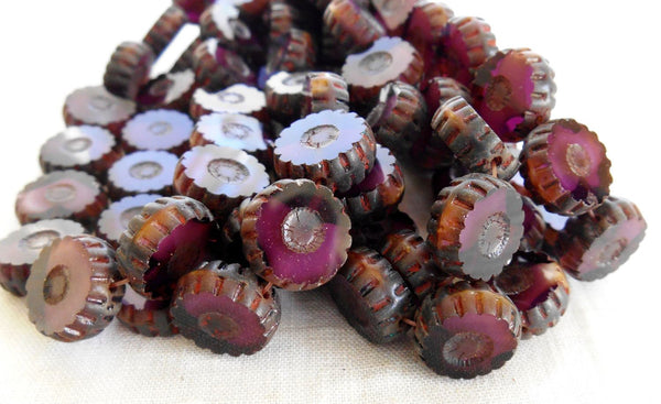 Four Czech table cut, carved, purple amethyst picasso daisy flower beads, 12mm x 4mm, C0804 - Glorious Glass Beads