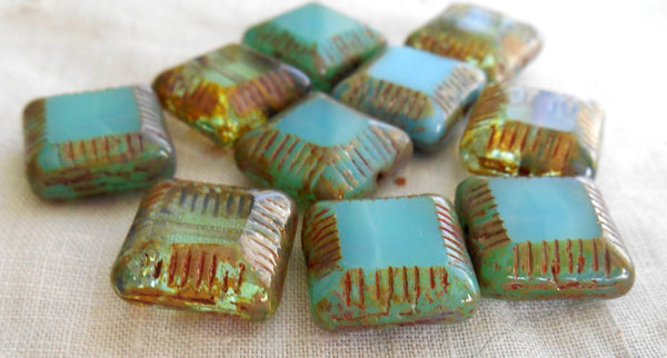 Four 14mm x 6mm blue green transparent, opaque mix table cut carved Czech square flat glass chunky picasso bead, C02101 - Glorious Glass Beads