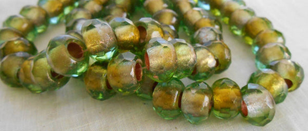 Five 12mm x 8mm Green gold foil Czech glass large faceted roller beads, big 5mm holes, 51101