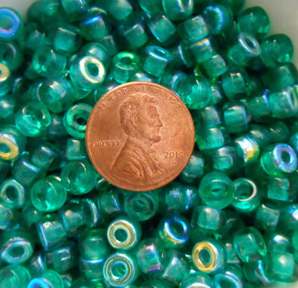 Fifty 6mm Czech glass Transparent Teal AB pony roller beads, large hole crow beads, C7450