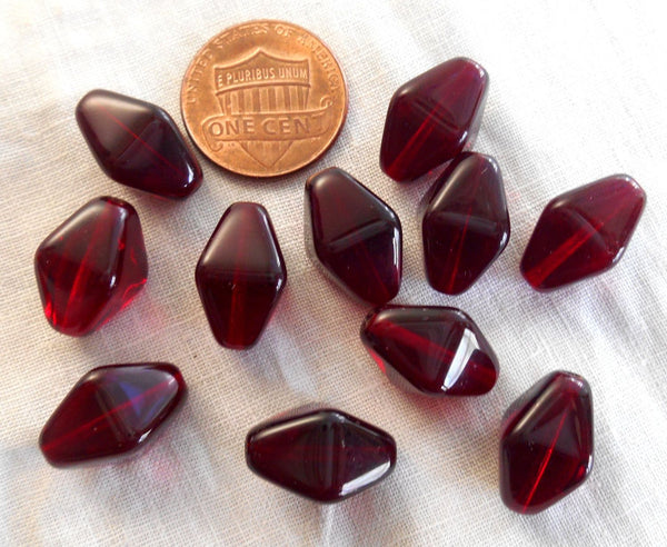 Ten Czech glass Garnet, ruby red chunky lantern, diamond or tube beads, 16 x 13mm, C4210
