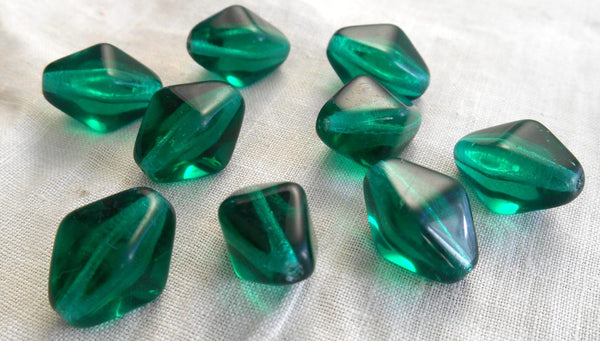 Ten Teal glass chunky lantern, diamond or tube beads, 16 x 13mm, C1210 - Glorious Glass Beads