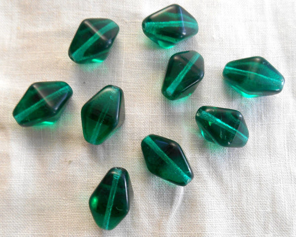 Ten Teal glass chunky lantern, diamond or tube beads, 16 x 13mm, C1210