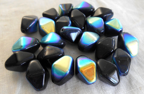 Ten 16 x 13mm opaque jet black AB glass chunky lantern, diamond or tube beads C8110 - Glorious Glass Beads
