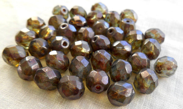 Lot of 25 8mm Lumi Green faceted, firepolished round Czech glass beads, C7725