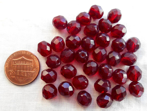 Lot of 25 8mm Ruby Red, Garnet Czech glass, firepolished, faceted round beads, C6525 - Glorious Glass Beads
