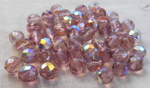 Lot of 25 8mm amethyst, AB Czech glass firepolished faceted round glass beads, C1650