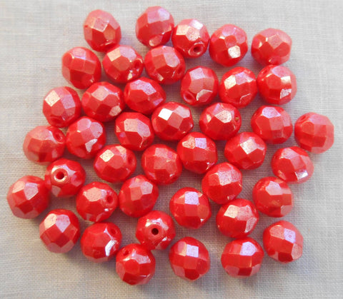 Lot of 25 8mm Czech glass Coral or Orange Shimmer firepolished, faceted round beads, C00125