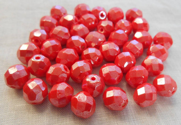 Lot of 25 8mm Czech glass Coral or Orange Shimmer firepolished, faceted round beads, C00125 - Glorious Glass Beads