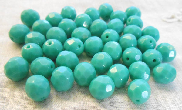 Lot of 25 8mm Turquoise Czech glass opaque firepolished, faceted round beads, C61125