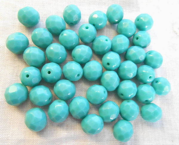 Lot of 25 8mm Turquoise Czech glass opaque firepolished, faceted round beads, C90125
