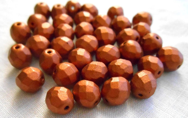 Lot of 25 8mm Matte Metallic Antique Copper Czech glass firepolished, faceted round beads, C9825