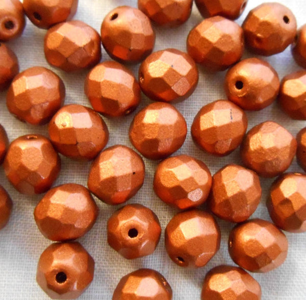 Lot of 25 8mm Matte Metallic Antique Copper Czech glass firepolished, faceted round beads, C5925 - Glorious Glass Beads