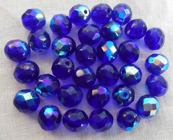 Lot of 25 8mm Czech glass cobalt blue AB firepolished faceted round beads, C1625
