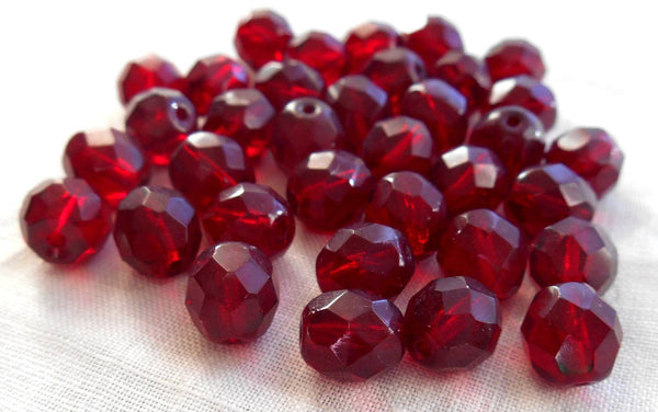 Lot of 25 8mm Ruby Red, Garnet Czech glass, firepolished, faceted round beads, C6525