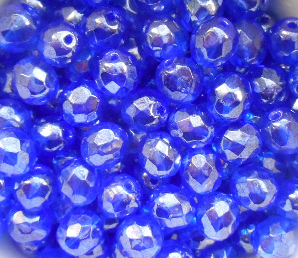 Lot of 25 8mm Sapphire Blue Iridescent Shimmer Czech glass firepolished, faceted beads, C1625