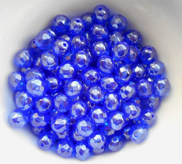 Lot of 25 8mm Sapphire Blue Iridescent Shimmer Czech glass firepolished, faceted beads, C1625 - Glorious Glass Beads