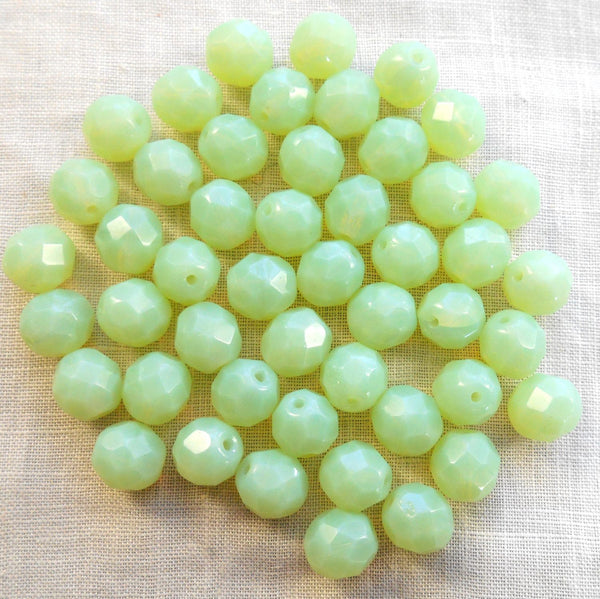 Lot of 25 8mm Light Mint Green Opal, opaque faceted round firepolished glass beads, C7825 - Glorious Glass Beads