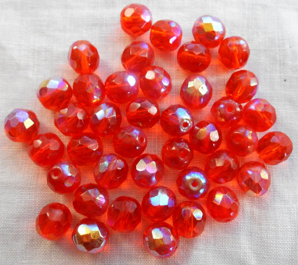 Lot of 25 8mm Czech glass, Hyacinth Orange AB firepolished, faceted round beads, C7825