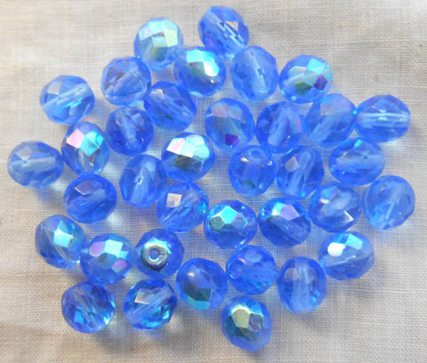 Lot of 25 8mm Czech glass Light Blue Sapphire AB, firepolished faceted round beads, C1625 - Glorious Glass Beads
