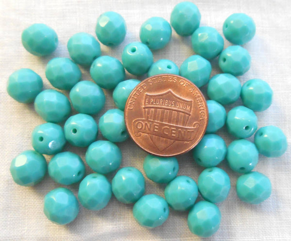 Lot of 25 8mm Turquoise Czech glass opaque firepolished, faceted round beads, C61125 - Glorious Glass Beads