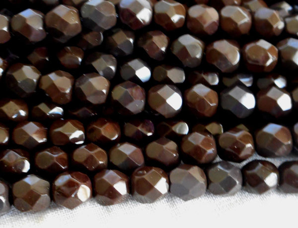 Lot of 25 6mm Czech glass, dark brown firepolished faceted round beads, C5525