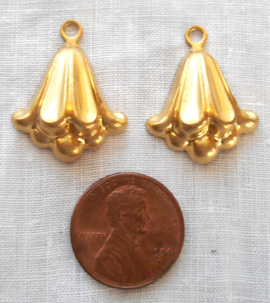 Two Raw Brass Stampings, Victorian dangles, charms, earrings 24mm x20mm, made in the USA, C6802 - Glorious Glass Beads