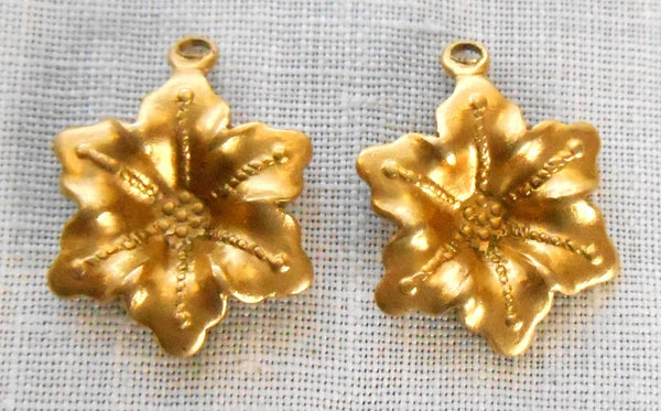 Two Raw Brass Stampings, Victorian flower dangles, charms, earrings 17mm x 15mm, made in the USA, C7702 - Glorious Glass Beads