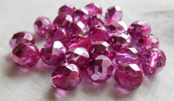 Lot of 25 8mm Pink Rose metallic Ice, faceted round firepolished glass beads, C0825