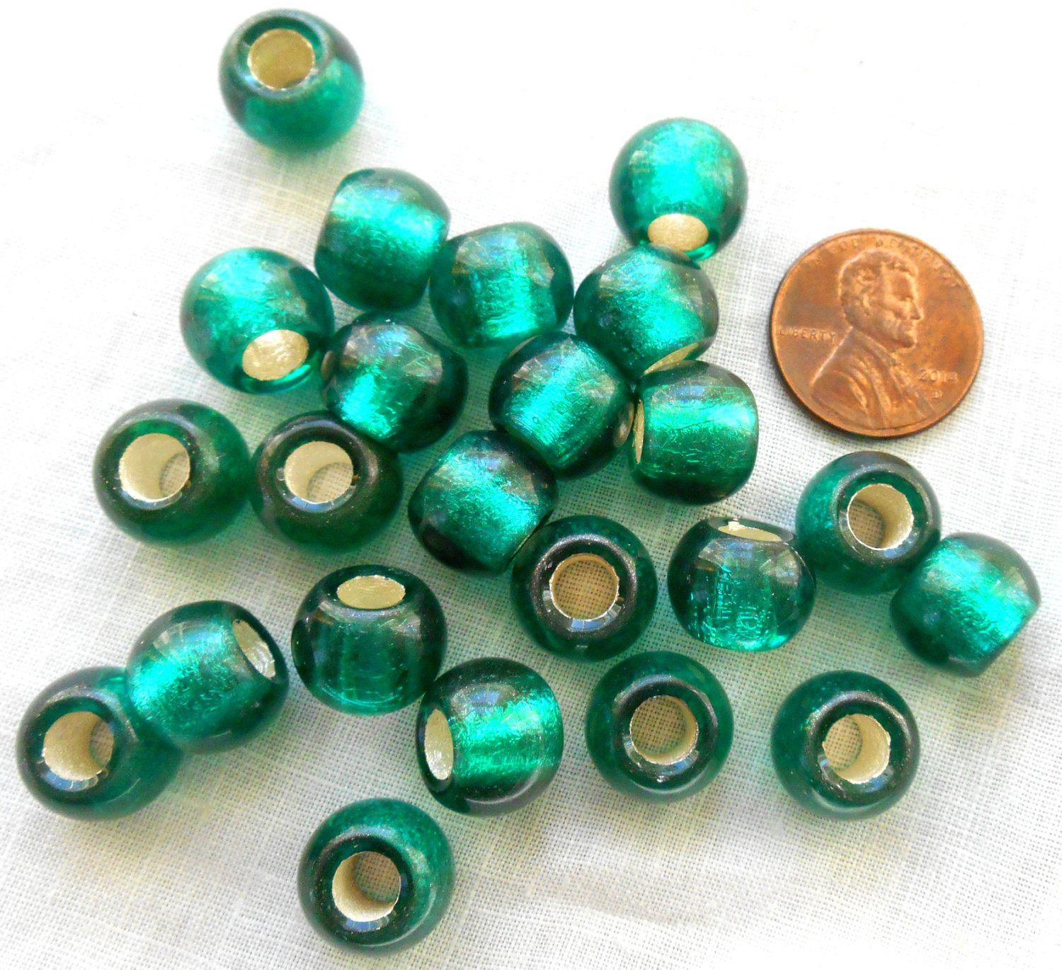 373ecb591 ... Six round Teal, Blue Green Siver Lined large 12mm glass beads, big 4.5mm