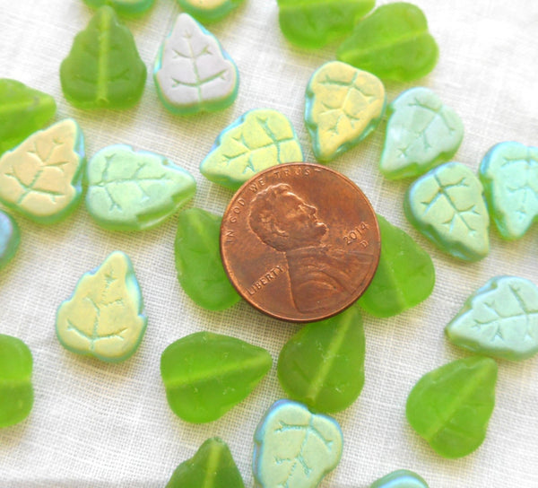 25 Czech glass leaf beads - Matte Peridot, Lime Green AB - large 12 x 10mm center drilled leaves - C63152 - Glorious Glass Beads