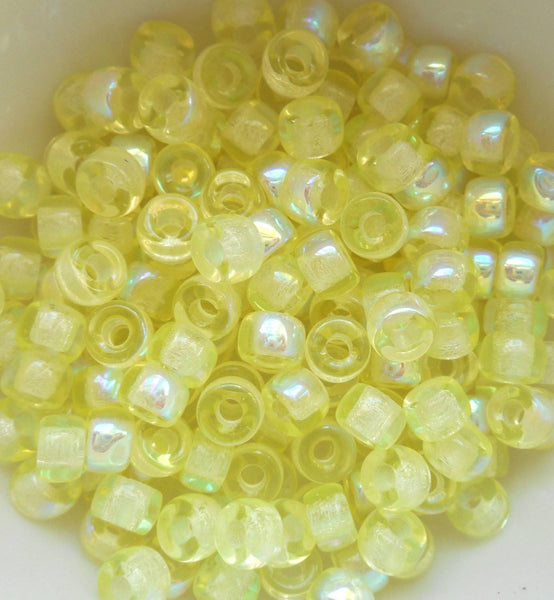Fifty 6mm Czech Jonquil AB yellow glass pony roller beads, large hole crow beads, C4350 - Glorious Glass Beads