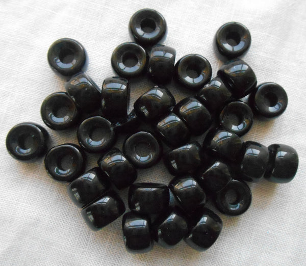 Lot of 25 9mm Czech Opaque Jet Black glass pony roller beads, large hole crow beads, C7625