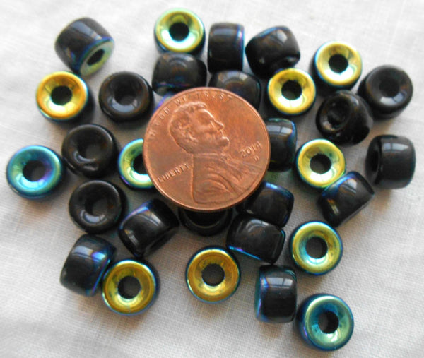 Lot of 25 9mm Czech Jet Black AB glass pony roller beads, large hole crow beads, C9325 - Glorious Glass Beads