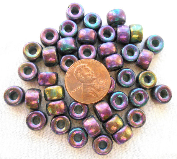 Lot of 25 9mm Czech iridescent multicolored glass Purple Iris pony roller beads, large hole crow beads, C3525 - Glorious Glass Beads